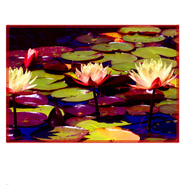 Leaf Designs Hand Painted Lotus Fabric Table Mats - Set Of 6