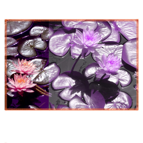Leaf Designs Purple Lotus Fabric Table Mats - Set Of 6