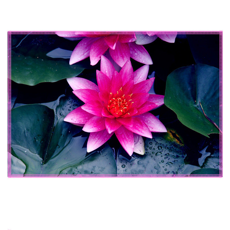Leaf Designs Fuchsia Pink Lotus Fabric Table Mats - Set Of 6
