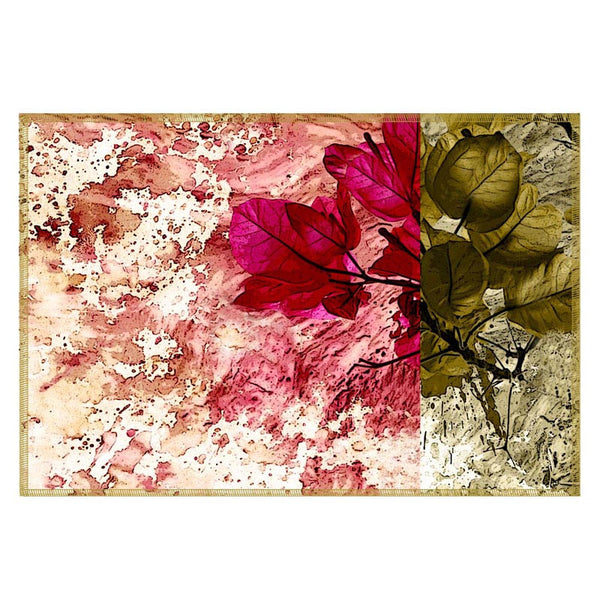 Leaf Designs Magenta & Green Table Mat - Set Of 6