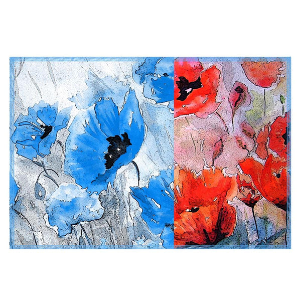 Leaf Designs Red & Blue Table Mat - Set Of 6