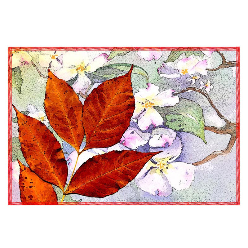 Leaf Designs Red & Lilac Table Mat - Set Of 6