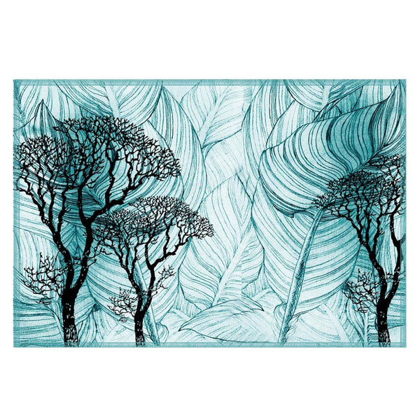 Leaf Designs Teal Table Mat - Set Of 6