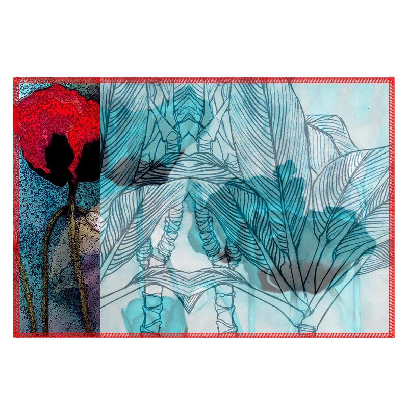 Leaf Designs Red & Teal Table Mat - Set Of 6