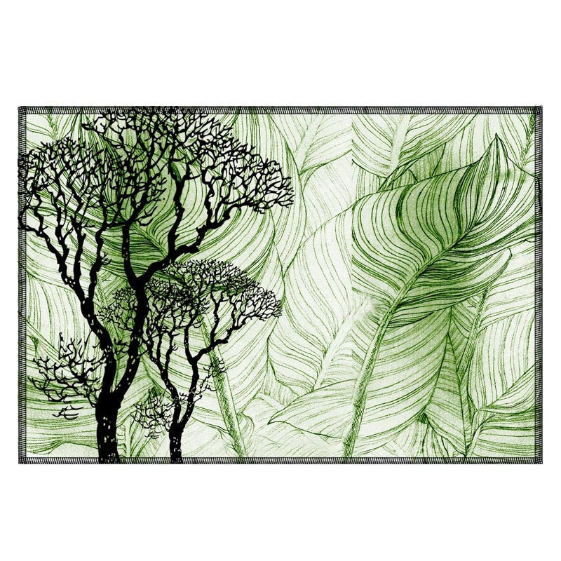 Leaf Designs Green & White Table Mat (A) - Set Of 6