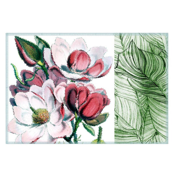 Leaf Designs White & Green Table Mat - Set Of 6