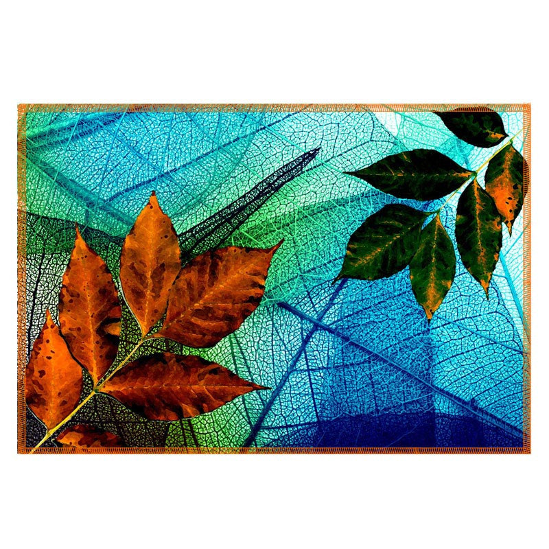 Leaf Designs Blue & Orange Table Mat - Set Of 6