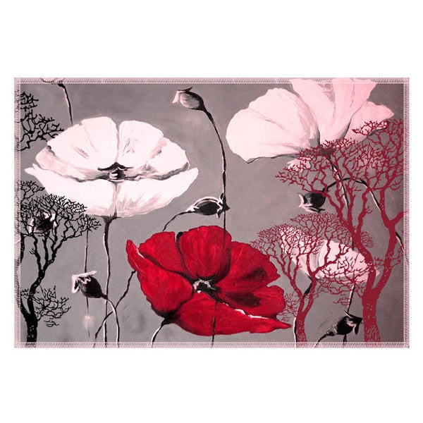 Leaf Designs Grey & White Table Mats - Set Of 6