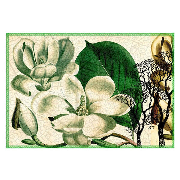 Leaf Designs Green & Beige Table Mats - Set Of 6