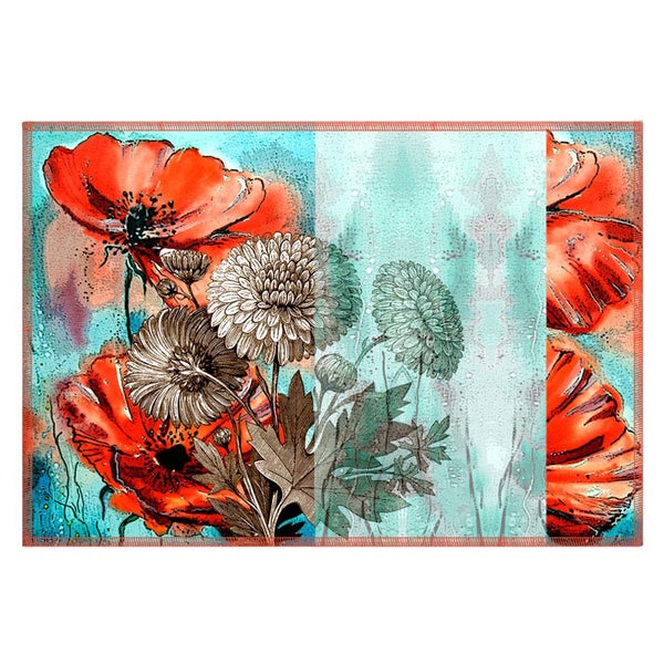 Leaf Designs Orange & Light Blue Table Mats - Set Of 6