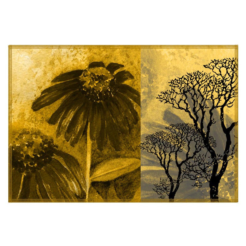 Leaf Designs Yellow & Grey Table Mats - Set Of 6
