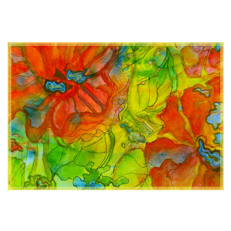Leaf Designs Orange & Green Table Mats - Set Of 6