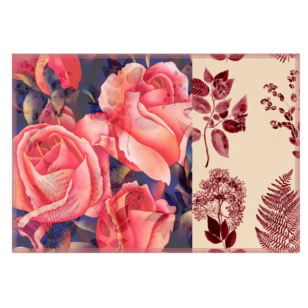 Leaf Designs Coral Rose Vintage Table Mats - Set Of 6