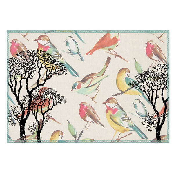 Leaf Designs Cream & Black Tree Vintage Table Mats - Set Of 6