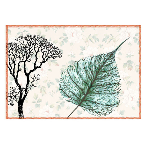 Leaf Designs Sea Green Leaf Vintage Table Mats - Set Of 6