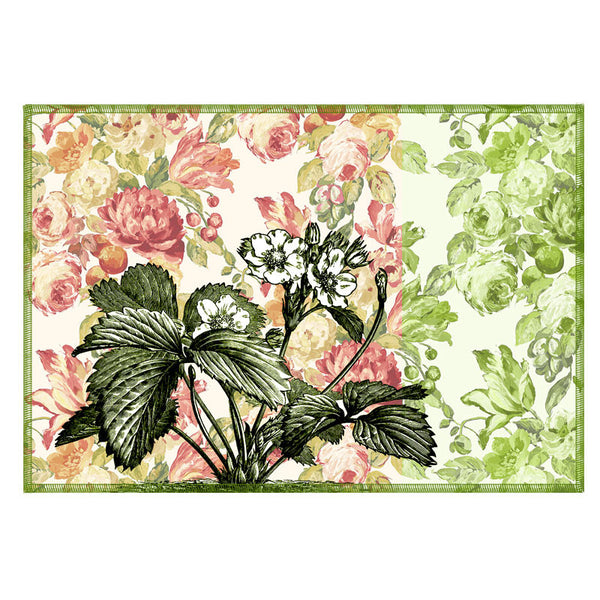 Leaf Designs Light Pink & Cream Vintage Table Mats - Set Of 6