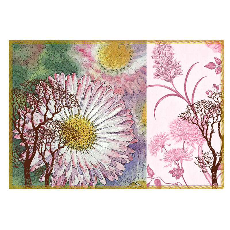 Leaf Designs Light Pink & Green Vintage Table Mats - Set Of 6
