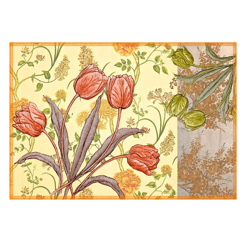 Leaf Designs Coral & Green Vintage Table Mats - Set Of 6