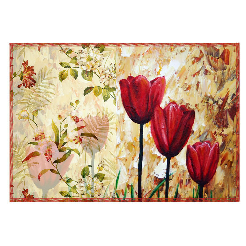Leaf Designs Dark Red Vintage Table Mats - Set Of 6