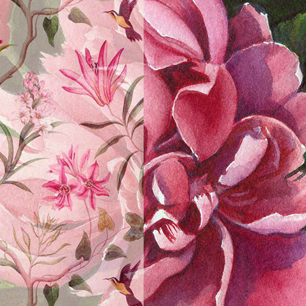 Leaf Designs Pink Tones Vintage Table Mats - Set Of 6