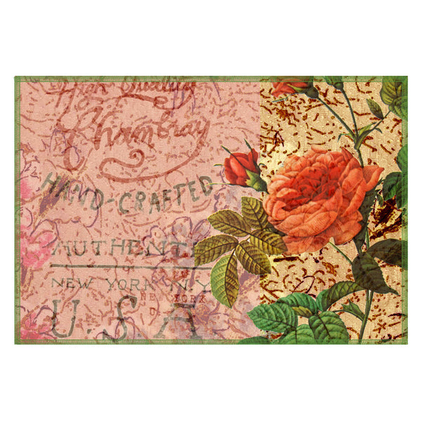 Leaf Designs Peach Floral Vintage Table Mats - Set Of 6