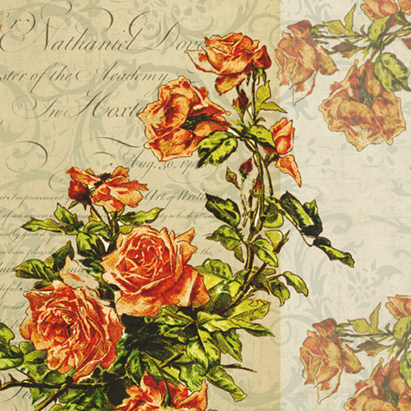 Leaf Designs Sepia Floral Vintage Table Mats - Set Of 6