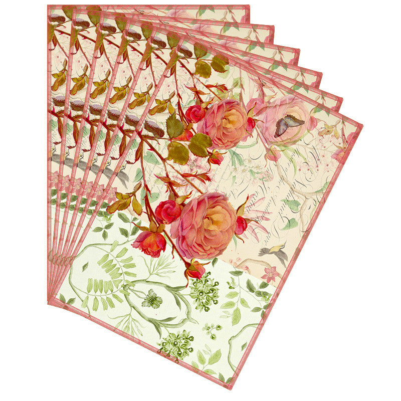 Leaf Designs Cream Floral Vintage Table Mats - Set Of 6