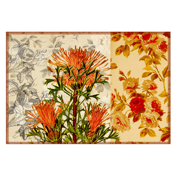 Leaf Designs Sandy Floral Vintage Table Mats - Set Of 6