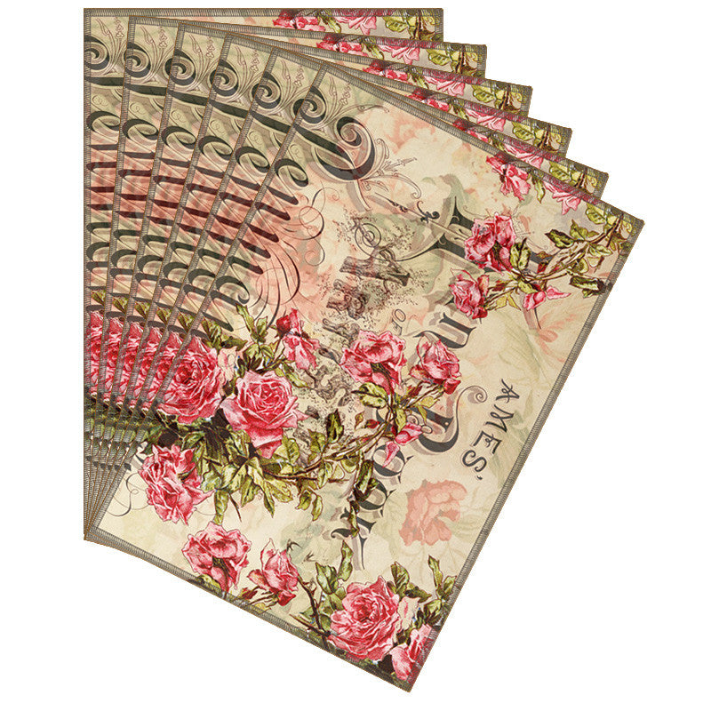 Leaf Designs Taupe Floral Vintage Table Mats - Set Of 6