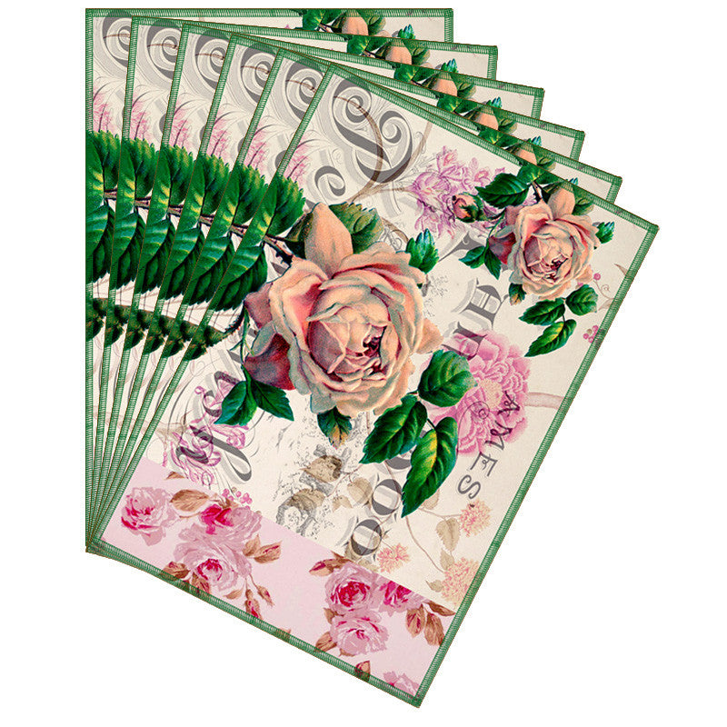 Leaf Designs Off White Floral Vintage Table Mats - Set Of 6