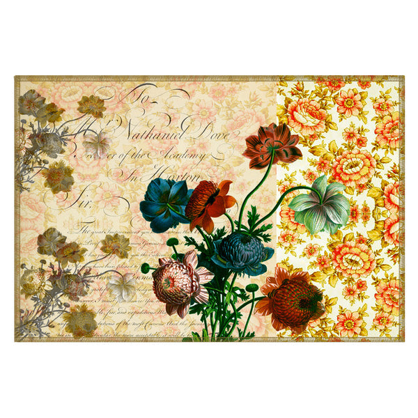 Leaf Designs Camel Floral Vintage Table Mats - Set Of 6