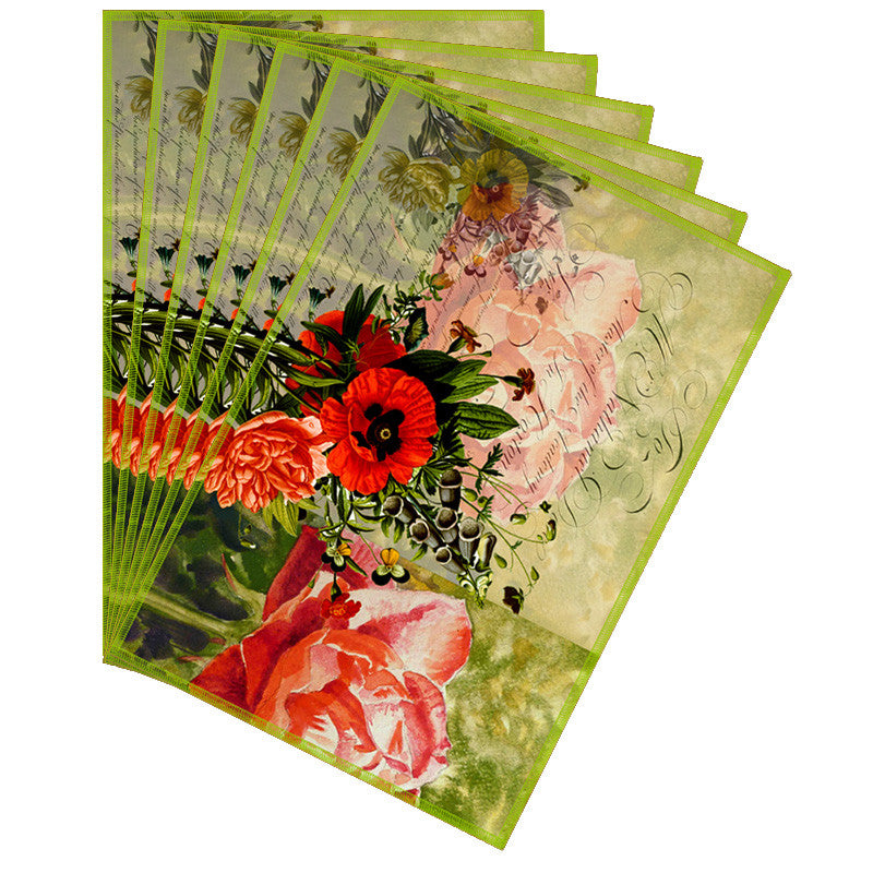Leaf Designs So Green Floral Vintage Table Mats - Set Of 6
