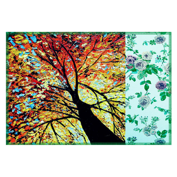 Leaf Designs Yellow Tree Table Mats - Set Of 6