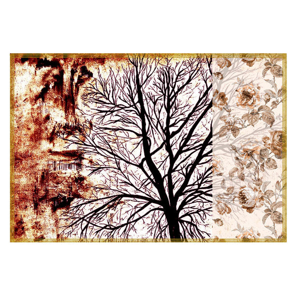 Leaf Designs Brown Tree Table Mats - Set Of 6