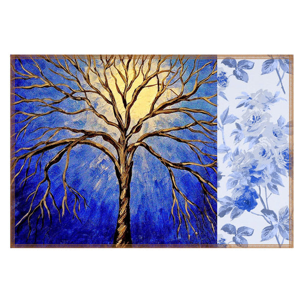 Leaf Designs Yellow & Blue Tree Table Mats - Set Of 6