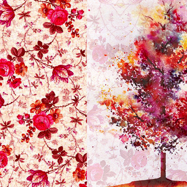 Leaf Designs Red & Yellow Tree Table Mats - Set Of 6