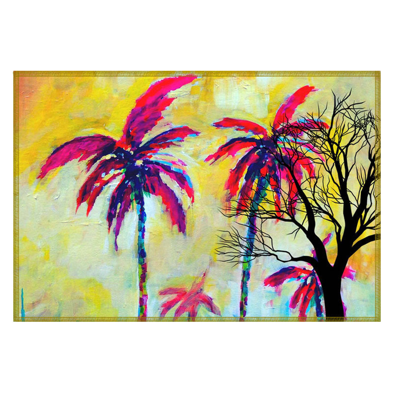 Leaf Designs Yellow & Magenta Tree Table Mats - Set Of 6