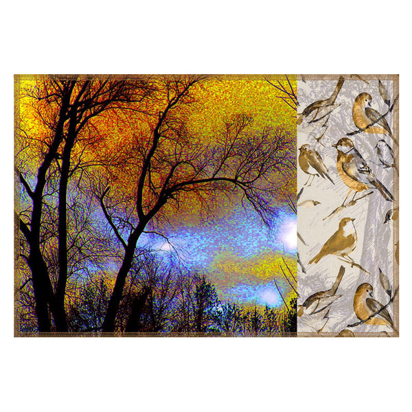 Leaf Designs Yellow & Beige Tree Table Mats - Set Of 6