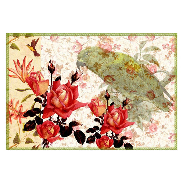 Leaf Designs Off White Parrot Canvas Table Mats - Set Of 6