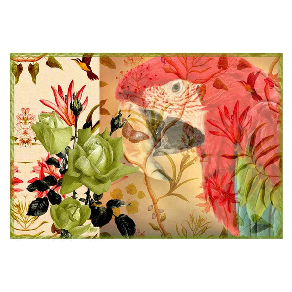 Leaf Designs Taupe Parrot Canvas Table Mats - Set Of 6