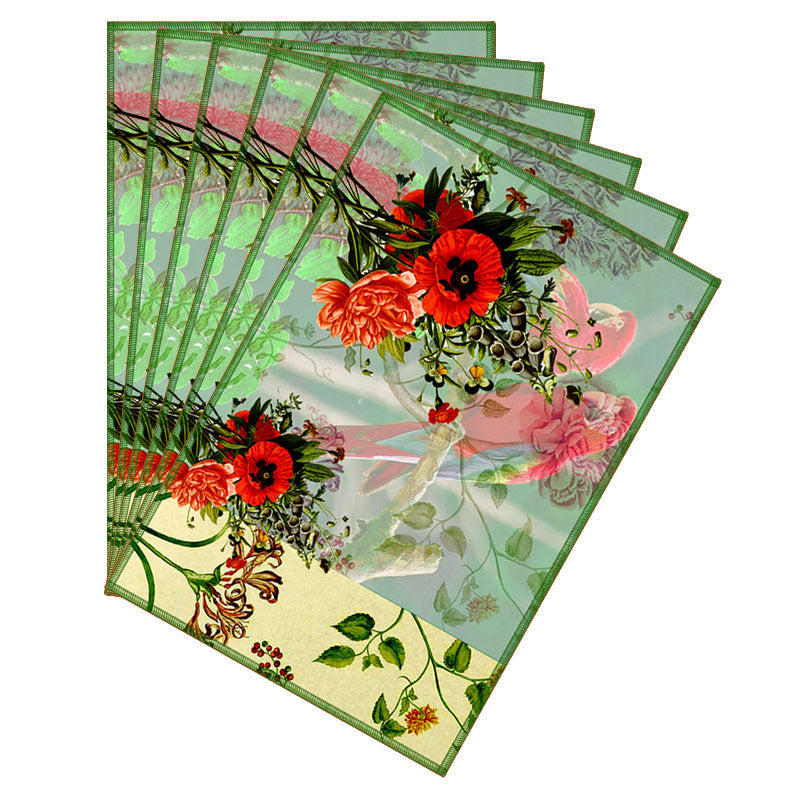 Leaf Designs Pale Green Parrot Canvas Table Mats - Set Of 6