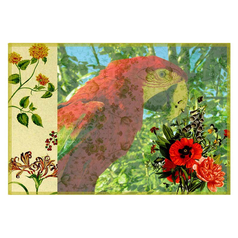 Leaf Designs Green Parrot Canvas Table Mats - Set Of 6