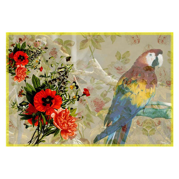 Leaf Designs Light Taupe Parrot Canvas Table Mats - Set Of 6