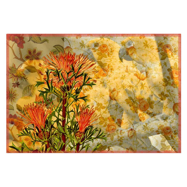 Leaf Designs Yellow & Orange Parrot Canvas Table Mats - Set Of 6