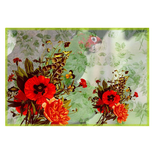 Leaf Designs Green Tones Parrot Canvas Table Mats - Set Of 6