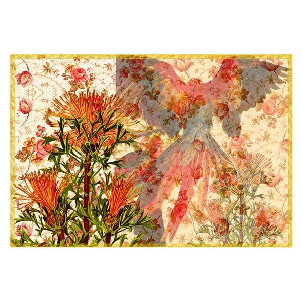 Leaf Designs Orange & Red Parrot Canvas Table Mats - Set Of 6