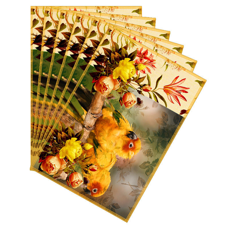 Leaf Designs Yellow Parrot Canvas Table Mats - Set Of 6