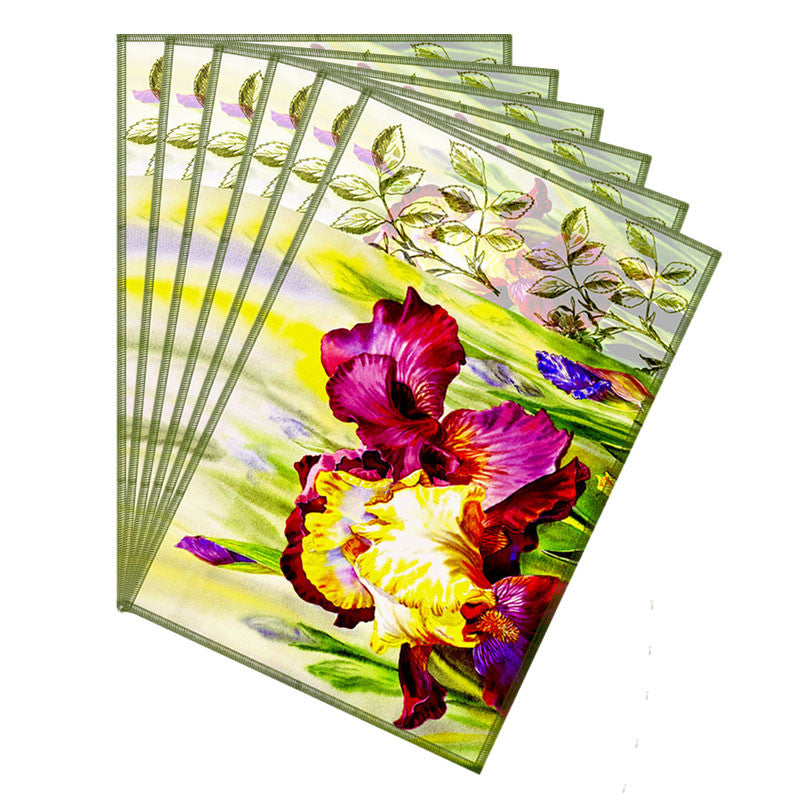 Leaf Designs Light Yellow & Magenta Flora Table Mats - Set Of 6