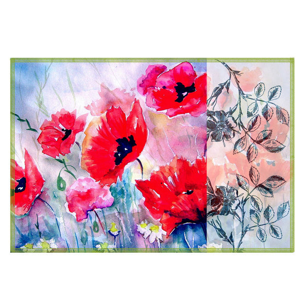 Leaf Designs Light Blue & Red Flora Table Mats - Set Of 6