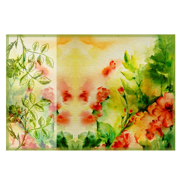 Leaf Designs Light Yellow & Green Flora Table Mats - Set Of 6